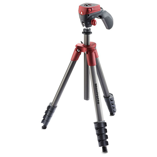 Trépied appareil photo Manfrotto Trépied Compact Action + Rotule joystick Rouge