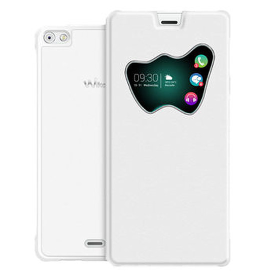 Coque et housse Wiko Folio back cover vision (blanc)- Wiko Highway PURE