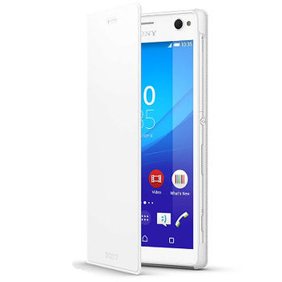 Coque et housse Sony Mobile Etui à rabat (blanc) - Sony Xperia C4 Dual