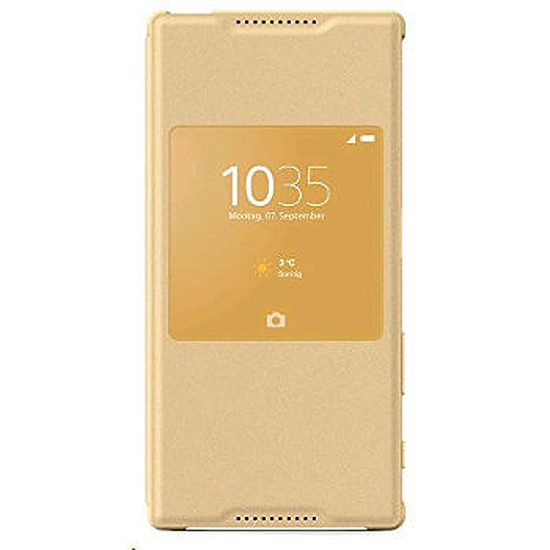 Coque et housse Sony Mobile Etui fenêtre Style up (or)- Xperia Z5