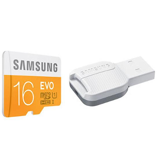 Carte mémoire Samsung Evo Micro SDHC 16 Go (48Mo/s) + adaptateur USB