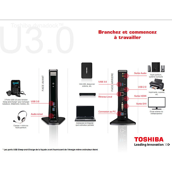 Station d'accueil PC portable Toshiba Station d'accueil USB 3.0 - Dynadock U3.0 (noir) - Autre vue