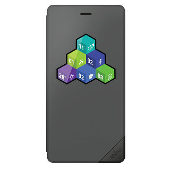 Coque et housse Wiko Folio wicube (gris) - Wiko Tommy 4G