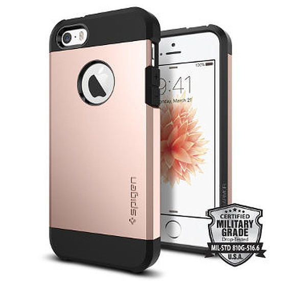 Coque et housse Spigen Coque Tough Armor (or rose) - iPhone SE