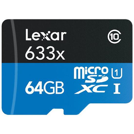 Carte mémoire Lexar MicroSDXC 64 Go 633x (45Mo/s) + Adaptateur