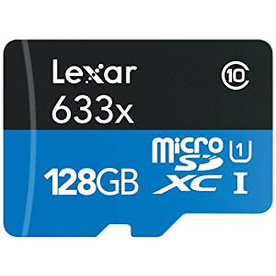 Carte mémoire Lexar micro SDXC 128 Go (45Mo/s) + adaptateur SD