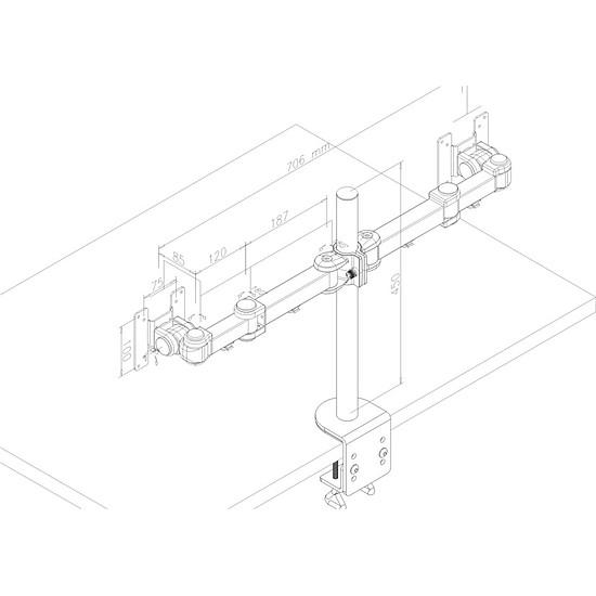 Bras & support écran PC Newstar Support double écrans - FPMA-D960D - Autre vue