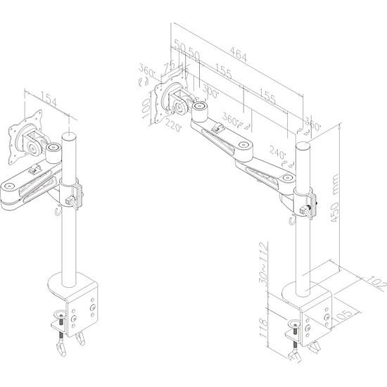 Bras & support écran PC Newstar Support écran articulé - FPMA-D935 (argent) - Autre vue