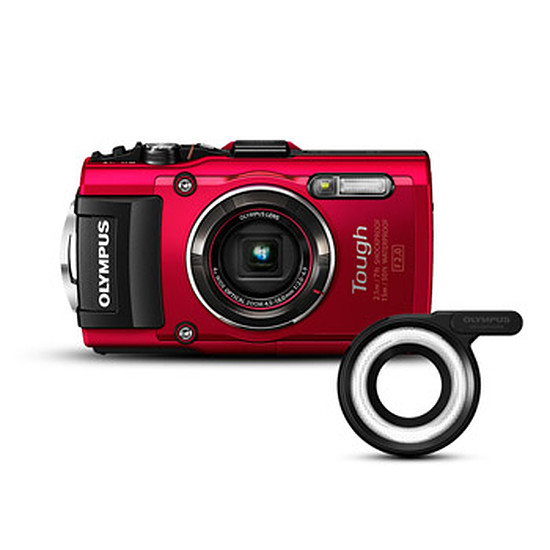 Appareil photo compact ou bridge Olympus Tough TG-4 Rouge + Bague macro