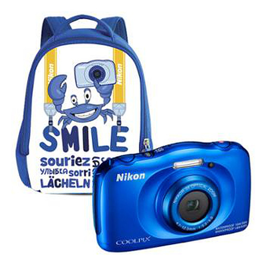 Appareil photo compact ou bridge Nikon Coolpix W100 Bleu + sac à dos