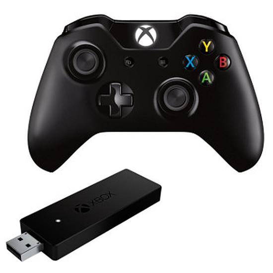 Manette de jeu Microsoft Xbox One - Noir + Adaptateur sans-fil PC