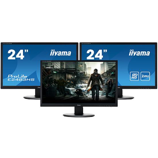 "Écran PC Iiyama E2483HS-B1 - 24"" x3"