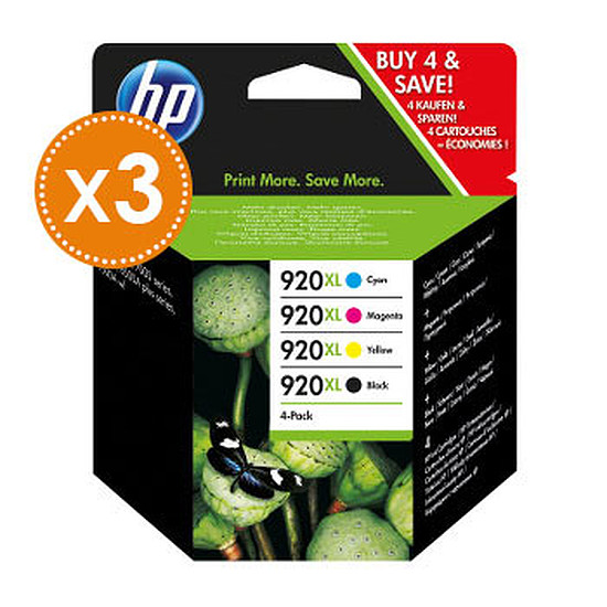 Cartouche imprimante HP Pack combo n°920XL - C2N92AE x3