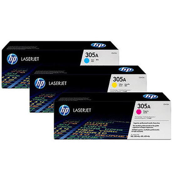 Toner imprimante HP Pack de 3 toner HP 305A - Cyan/Magenta/Jaune