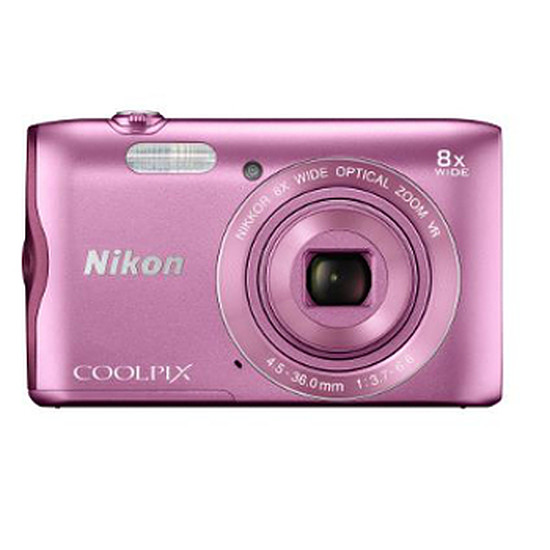 Appareil photo compact ou bridge Nikon Coolpix A300 Rose + Etui + carte SD 8 Go