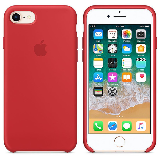 Coque et housse Apple Coque silicone (rouge) - iPhone 8 / 7 - Autre vue