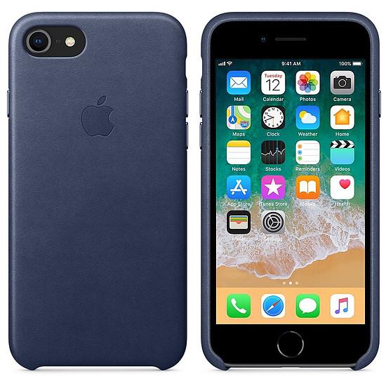Coque et housse Apple Coque cuir (bleu nuit) - iPhone 8 / 7 - Autre vue