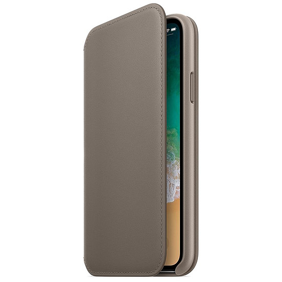 Coque et housse Apple Etui folio cuir (taupe) - iPhone X