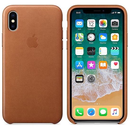 Coque et housse Apple Coque cuir (havane) - iPhone X - Autre vue