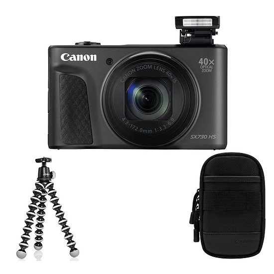Appareil photo compact ou bridge Canon Powershot SX730 Noir + Etui + Gorilla Pod