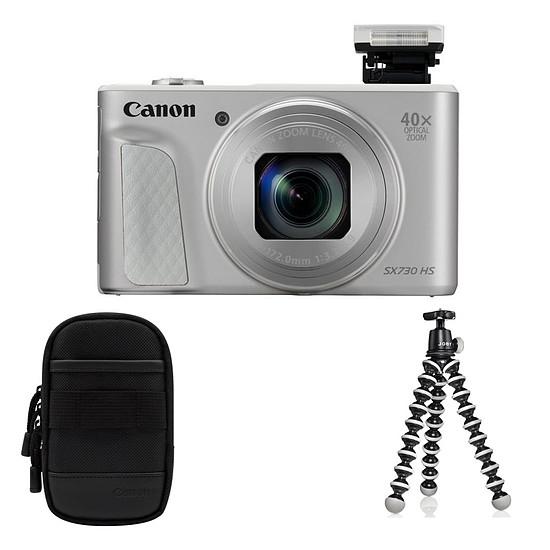 Appareil photo compact ou bridge Canon Powershot SX730 Argent + Etui + Gorilla Pod