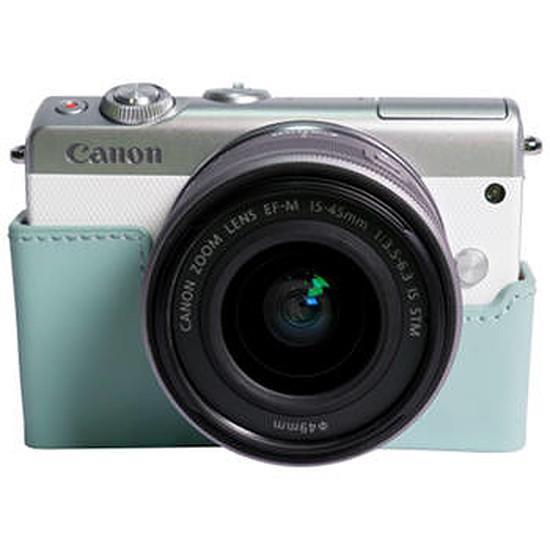3bbccb393a9786 Canon EOS M100 blanc + EF-M 15-45 mm + Etui turquoise - Appareil ...