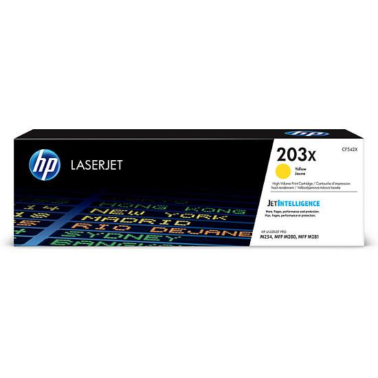 Toner imprimante HP 203X - Jaune (CF542X) - Haute capacité