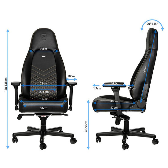 Fauteuil / Siège Gamer Noblechairs ICON - Or - Autre vue