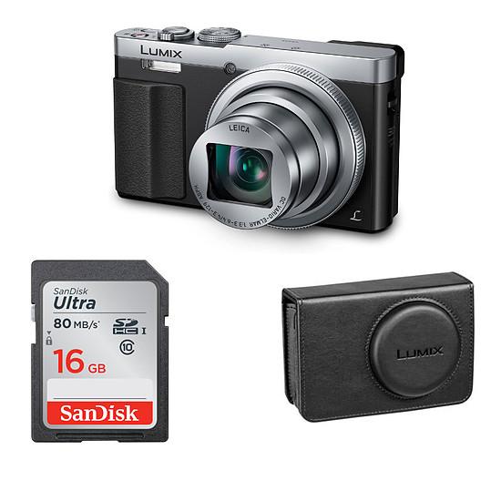 Appareil photo compact ou bridge Panasonic Lumix DMC-TZ70 Silver + Etui + SD 16Go (Pack)