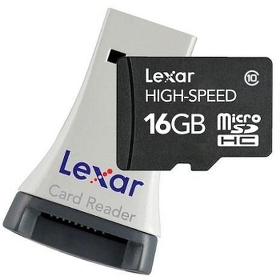 Carte mémoire Lexar Micro SDHC 16 Go + Lecteur (Classe 10)