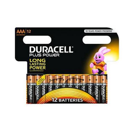 Pile et chargeur Duracell Piles Alcaline Plus Power AAA LR03 (par 12)