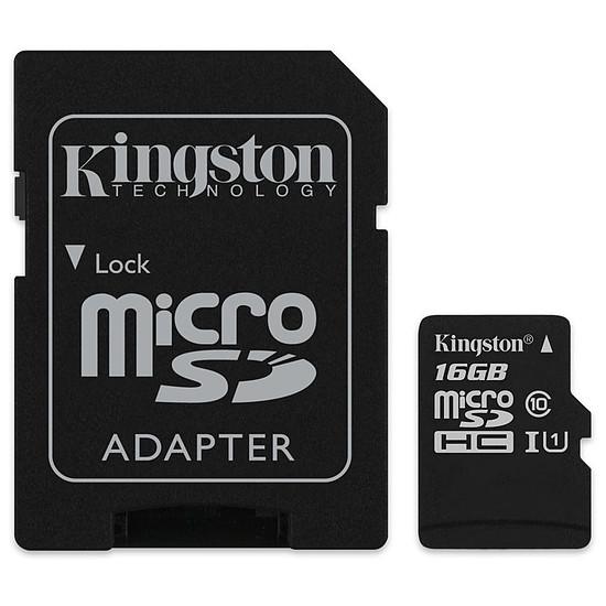 Carte mémoire Kingston microSDHC 16 Go Canvas Select (80Mo/s) + adapt. SD