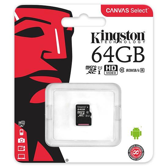 Carte mémoire Kingston microSDXC 64 Go Canvas Select (80Mo/s) - Autre vue