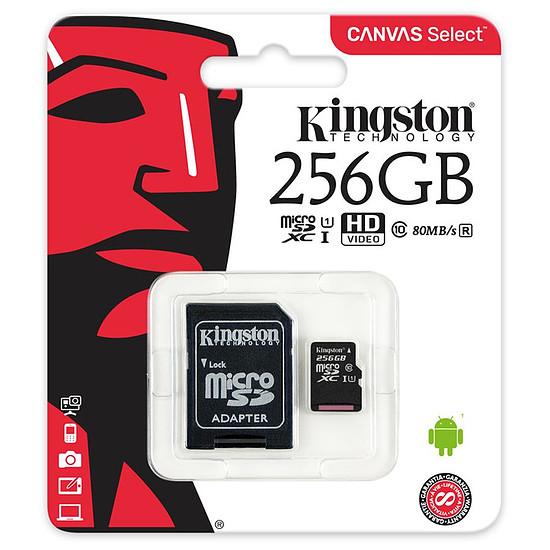 Carte mémoire Kingston microSDXC 256 Go Canvas Select (80Mo/s) + adapt SD - Autre vue