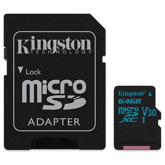 Carte mémoire Kingston microSDXC 64 Go Canvas Go! (90Mo/s) + adapt. SD