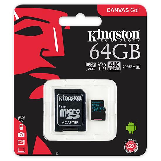 Carte mémoire Kingston microSDXC 64 Go Canvas Go! (90Mo/s) + adapt. SD - Autre vue
