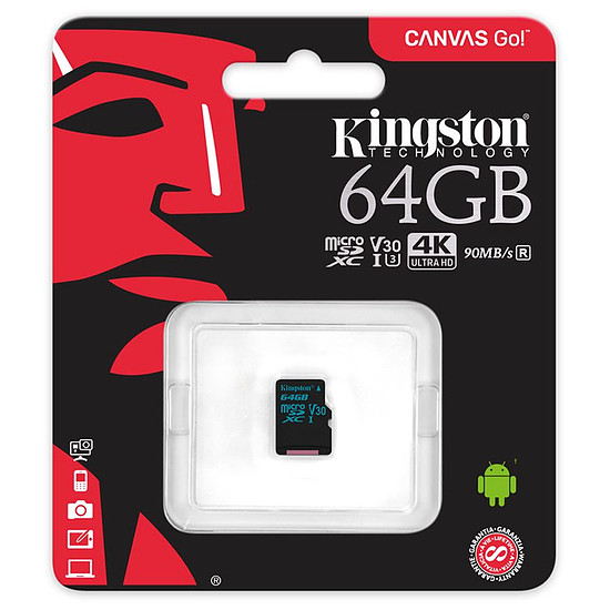 Carte mémoire Kingston microSDXC 64 Go Canvas Go! (90Mo/s) - Autre vue