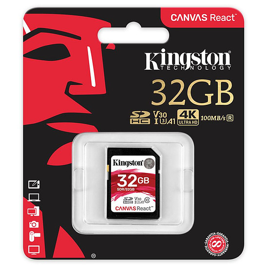Carte mémoire Kingston SDHC 32 Go Canvas React (100 Mo/s) - Autre vue