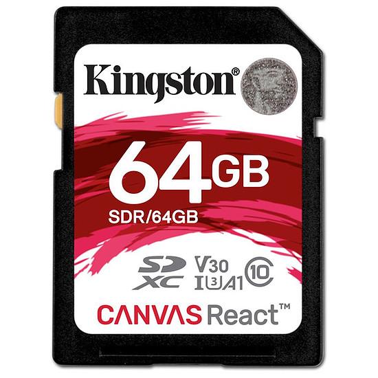 Carte mémoire Kingston SDXC 64 Go Canvas React (100 Mo/s)