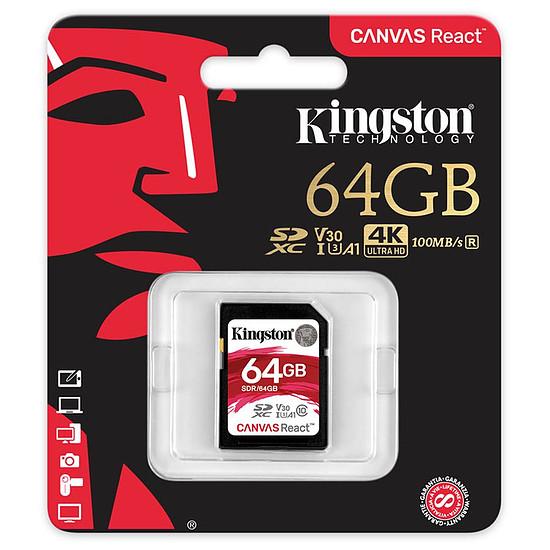 Carte mémoire Kingston SDXC 64 Go Canvas React (100 Mo/s) - Autre vue