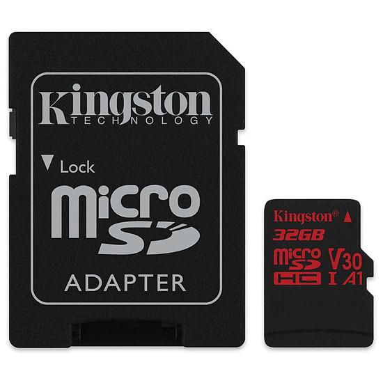 Carte mémoire Kingston microSDHC 32 Go Canvas React (100Mo/s) + adapt. SD
