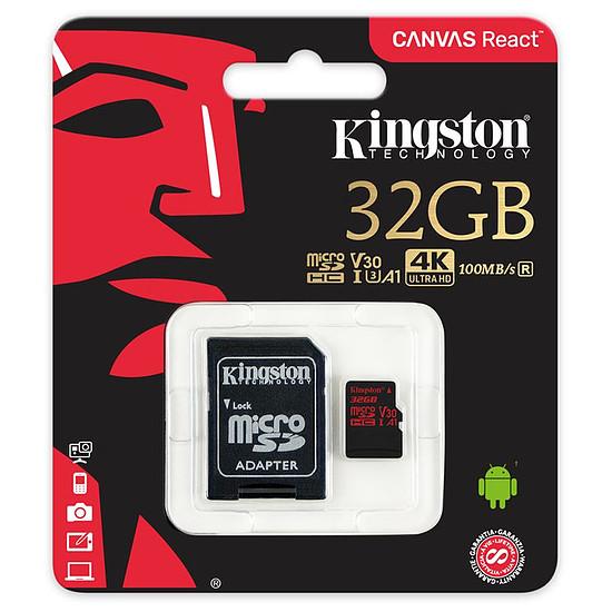 Carte mémoire Kingston microSDHC 32 Go Canvas React (100Mo/s) + adapt. SD - Autre vue