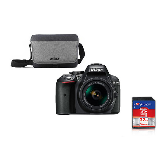 Appareil photo Reflex Nikon D5300 + AF-P DX 18-55 VR + Carte SD Verbatim 32 GO + Sacoche Nikon CF-EU11
