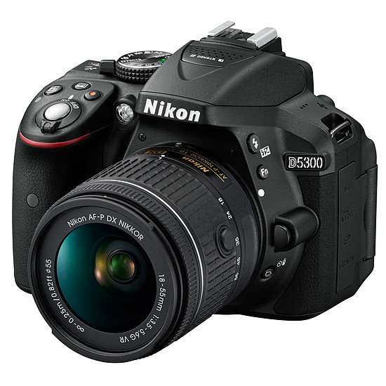 Appareil photo Reflex Nikon D5300 + AF-P DX 18-55 VR + Carte SD Verbatim 32 GO + Sacoche Nikon CF-EU11 - Autre vue