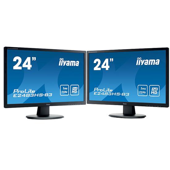 Écran PC Iiyama Pack ProLite E2483HS-B3 x2 + support double écran