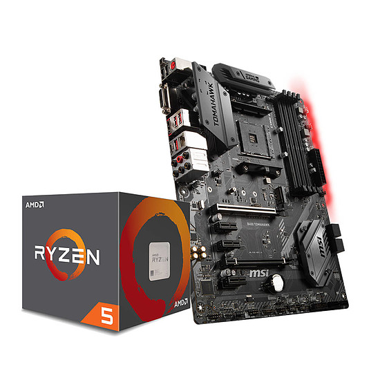 Processeur AMD Ryzen 5 1600 Wraith Spire Edition (3,2 GHz) + MSI B450 TOMAHAWK