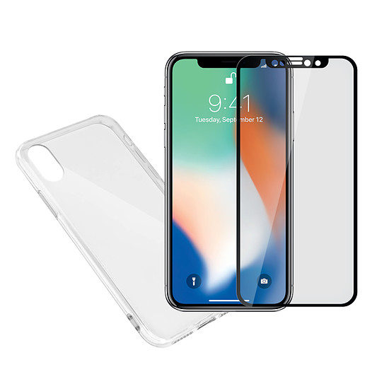 coque iphone xs transparente et rouge