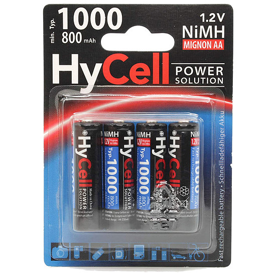Pile et chargeur Hycell Piles rechargeables 800mAh AAA x4