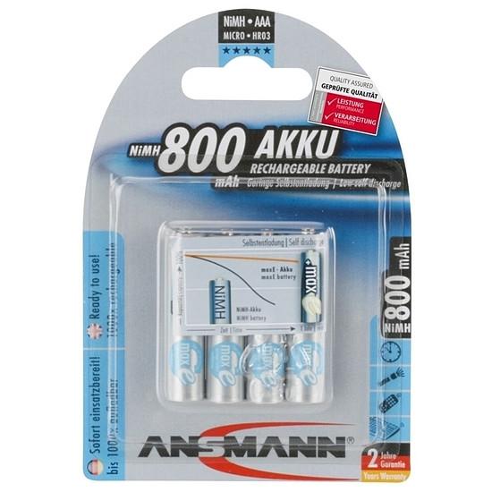 Pile et chargeur Ansmann Piles rechargeables maxE 800 mAh AAA x4