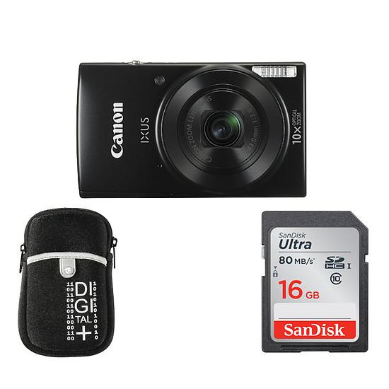 Appareil photo compact ou bridge Canon Ixus 190 Noir + Etui + Carte SD 16 Go (Pack)